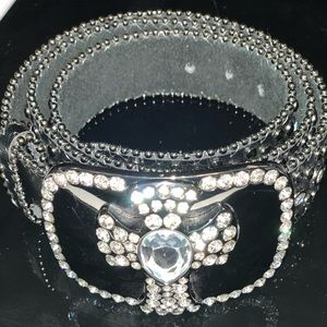 Accessories - Bling Bling Genuine Leather Belt - crystal cross